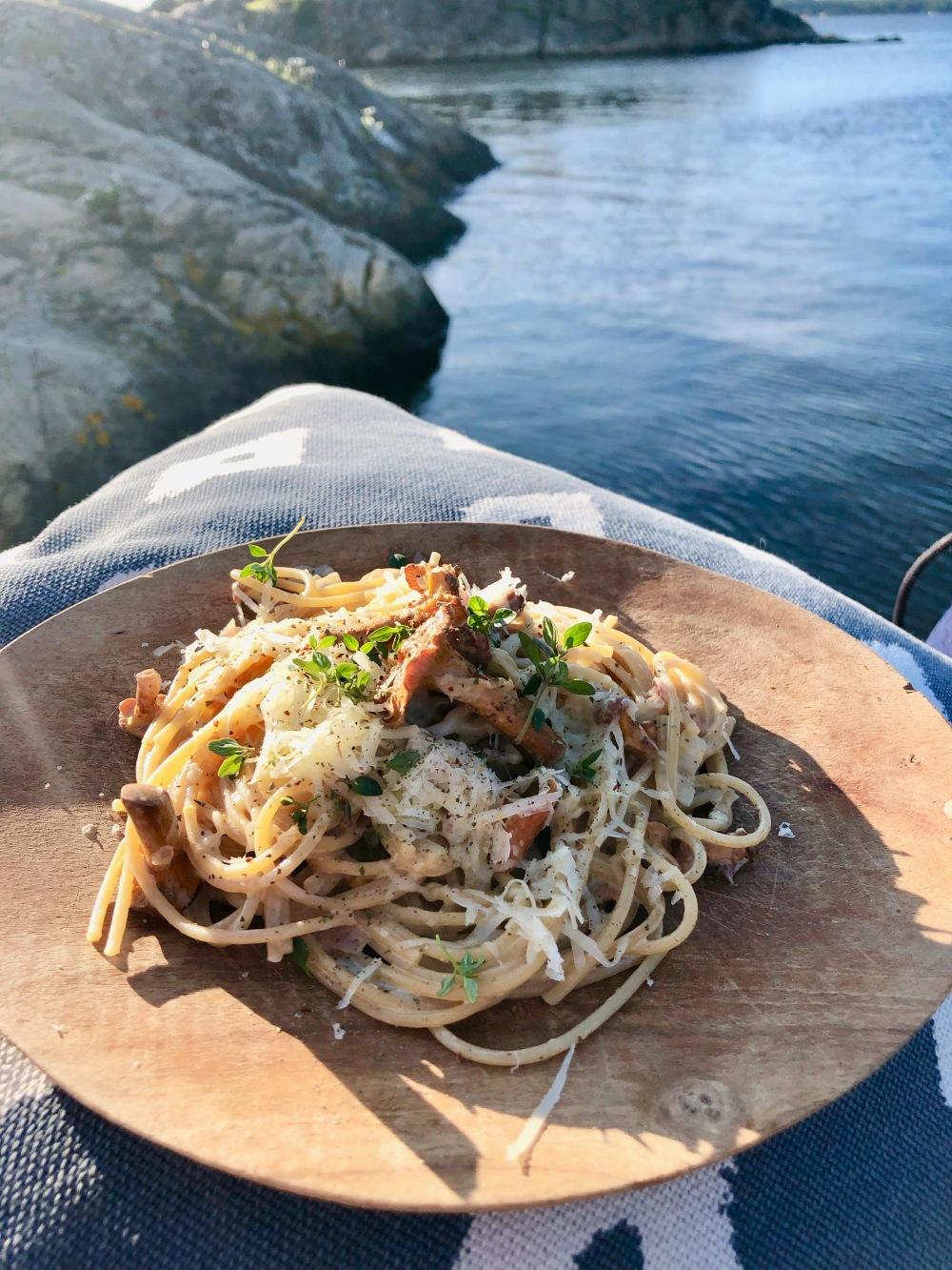 Spagetti med kantarell